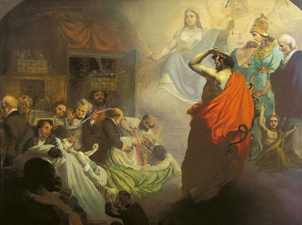 """А. Бейдеман. """"Гомеопатия, взирающая на ужасы Аллопатии"""". 1857"""